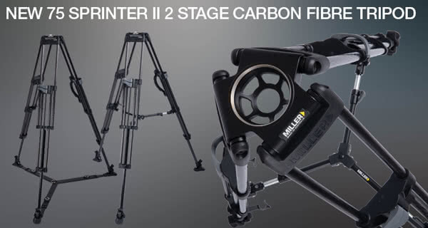 Miller New 75 Sprinter II 2 Stage Carbone Fibre Tripod