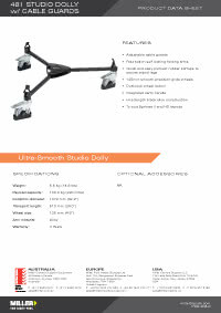 481 Studio Dolly With Cable Guards Product Data Sheet