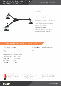 483 Studio Dolly with Cable Guards & Tracking Product Data Sheet